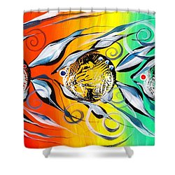 Three In A Row ... Three Shower Curtain by J Vincent Scarpace