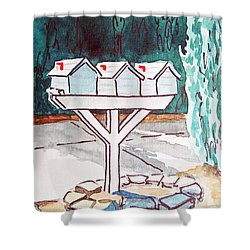 Three Mailboxes Sketchbook Project Down My Street Shower Curtain by Irina Sztukowski