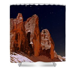 Three Peaks On Mars Shower Curtain by Helmut Rottler