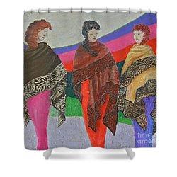 Three Women Shower Curtain by Judith Espinoza