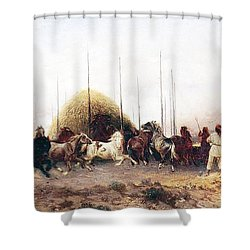 Threshing Wheat In New Mexico Shower Curtain by Thomas Moran