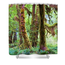 Through Moss Covered Trees Shower Curtain by Heidi Smith