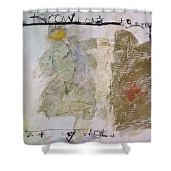 Shower Curtain featuring the painting Throwing Stones At My World by Cliff Spohn