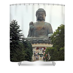 Tian Tan Buddha Shower Curtain by Valentino Visentini