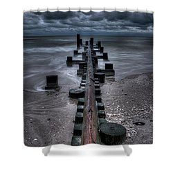 Tidal Movement Shower Curtain by Nick  Shirghio