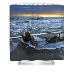 Tides At Driftwood Beach Shower Curtain by Debra and Dave Vanderlaan