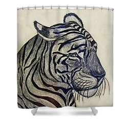 Tiger I Shower Curtain by Debbie Portwood