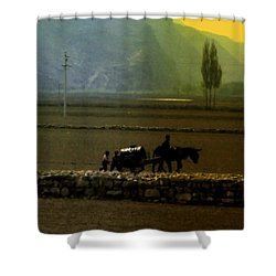 Shower Curtain featuring the photograph 'til The Day Is Done by Lydia Holly