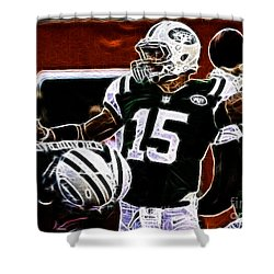 Tim Tebow  -  Ny Jets Quarterback Shower Curtain by Paul Ward