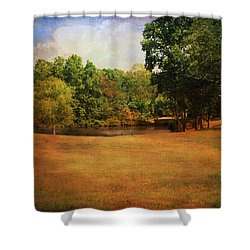 Timbers Pond Shower Curtain by Jai Johnson
