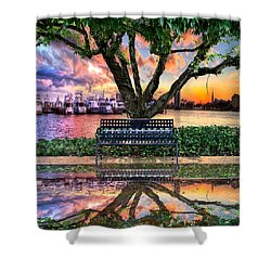 Time For Reflection Shower Curtain by Debra and Dave Vanderlaan