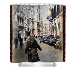 Time Warp In Malaga Shower Curtain by Mary Machare