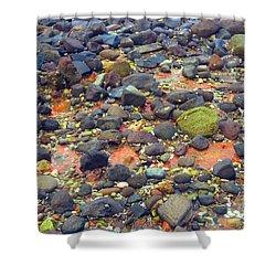 Shower Curtain featuring the photograph Tinopoi Beach Rocks by Mark Dodd