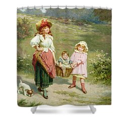 To Market To Buy A Fat Pig Shower Curtain by Edwin Thomas Roberts