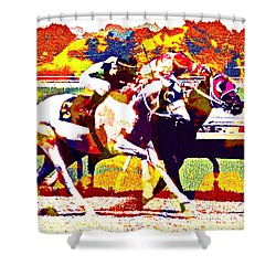 Shower Curtain featuring the photograph To The Finish by Alice Gipson