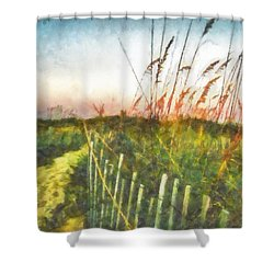 Shower Curtain featuring the painting To The Sea by Lynne Jenkins