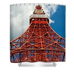 Tokyo Tower Face Cloudy Sky Shower Curtain by Ulrich Schade