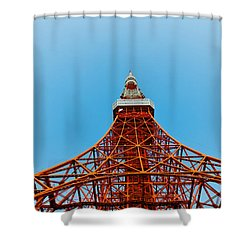 Tokyo Tower Faces Blue Sky Shower Curtain by U Schade