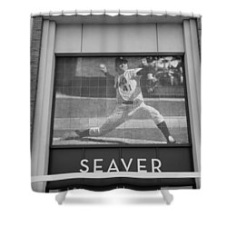 Tom Seaver 41 In Black And White Shower Curtain by Rob Hans
