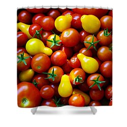 Tomatoes Background Shower Curtain by Carlos Caetano