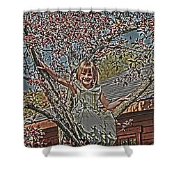 Tomboy In The Tree Shower Curtain by Randall Branham