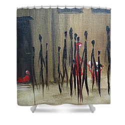 Shower Curtain featuring the painting Too Busy To Notice by Judith Rhue