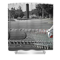 Shower Curtain featuring the photograph Too Many Carts by Renee Trenholm