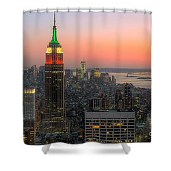 Top Of The Rock Twilight X Shower Curtain by Clarence Holmes