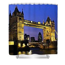 Tower Bridge In London At Night Shower Curtain by Elena Elisseeva