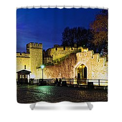 Tower Of London Walls At Night Shower Curtain by Elena Elisseeva