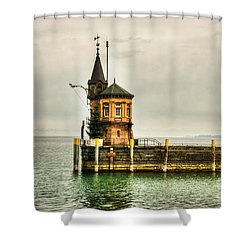 Tower On Lake Shower Curtain by Syed Aqueel