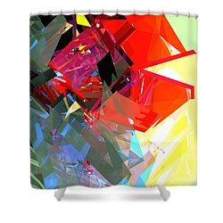 Tower Poly 17 Rose Shower Curtain by Russell Kightley