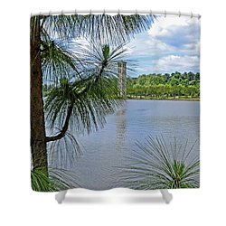 Shower Curtain featuring the photograph Tower Thru The Pine by Larry Bishop