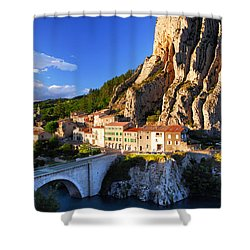 Town Of Sisteron In Provence France Shower Curtain by Elena Elisseeva