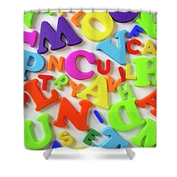 Toy Letters Shower Curtain by Carlos Caetano