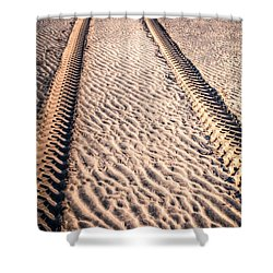Tracks In The Sand Shower Curtain by Adrian Evans