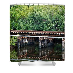 Tracks On The River Shower Curtain by Rob Hans