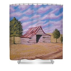 Shower Curtain featuring the pastel Tractor Shed by Stacy C Bottoms