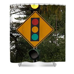 Traffic Sign Shower Curtain by Photo Researchers