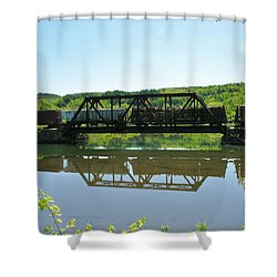 Shower Curtain featuring the photograph Train And Trestle by Sherman Perry