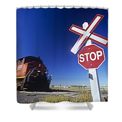 Train Passing Railway Crossing Shower Curtain by Dave Reede