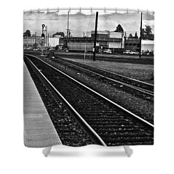 Shower Curtain featuring the photograph train tracks - Black and White by Bill Owen
