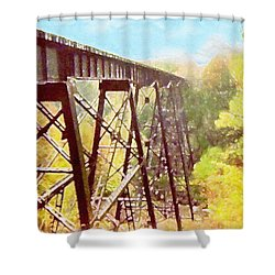 Shower Curtain featuring the digital art Train Trestle by Phil Perkins