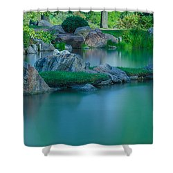 Tranquil Island Shower Curtain by Jonah  Anderson