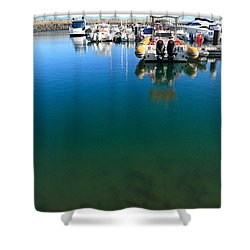 Tranquility At The Marina Shower Curtain by Gaspar Avila