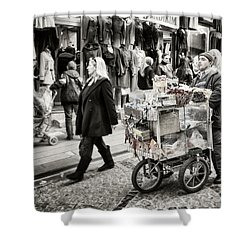 Traveling Vendor Shower Curtain by Joan Carroll