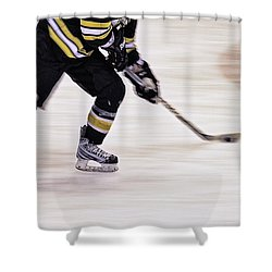Traveling With The Puck Shower Curtain by Karol Livote