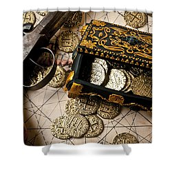 Treasure Box With Old Pistol Shower Curtain by Garry Gay