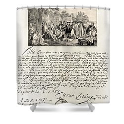 Treaty Between William Penn Shower Curtain by Photo Researchers