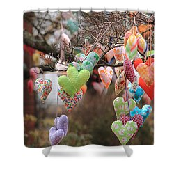 Tree Hearts Shower Curtain